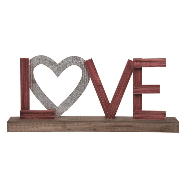 23 in. Brown Valentines Day Love Tabletop Word Block Décor