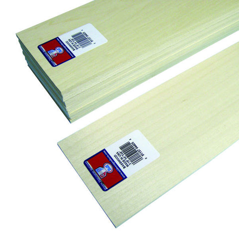 3/16 x 4 x 24 Basswood Sheets-SKU 4405