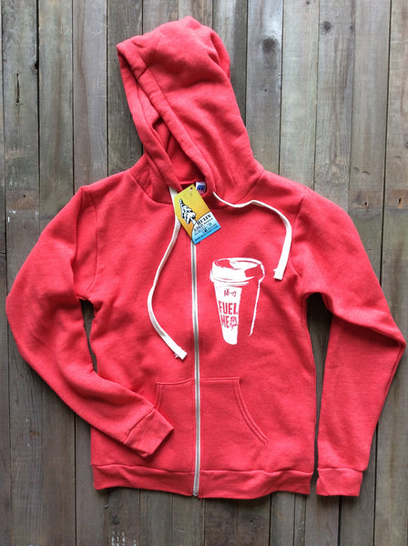 Fuel me zip hoodies red