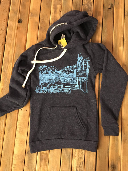 Northern Lights dark navy and blue pullover hoodie