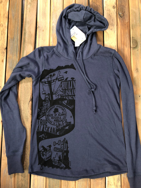 Exploring Alaskana skateboard graphic women's hoodie