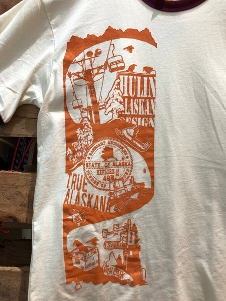 Exploring Alaskana skateboard graphic men's tee