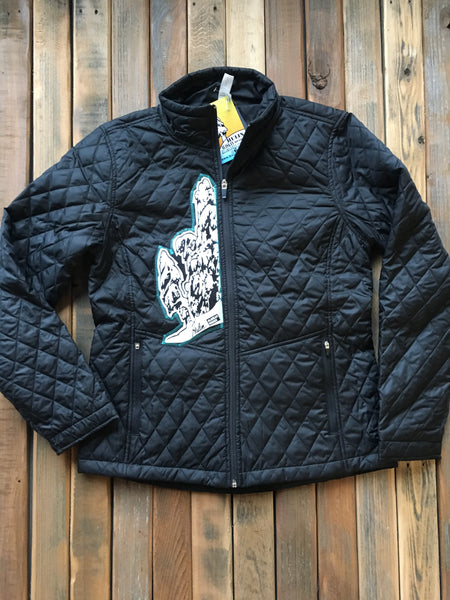 Insulated women's stitched art snowy tree logo jacket