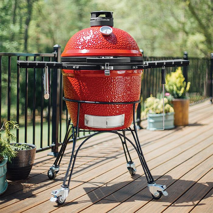 The Kamado Joe II displayed on a porch.