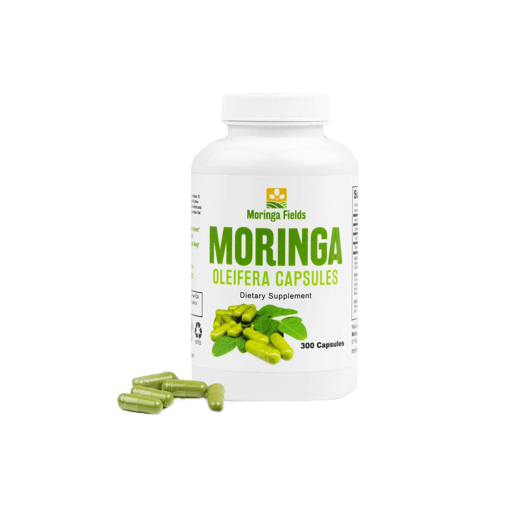 300 Count Moringa Capsules Made With 100% Pure Certified Organic Moringa Powder - Moringa Fields LLC
