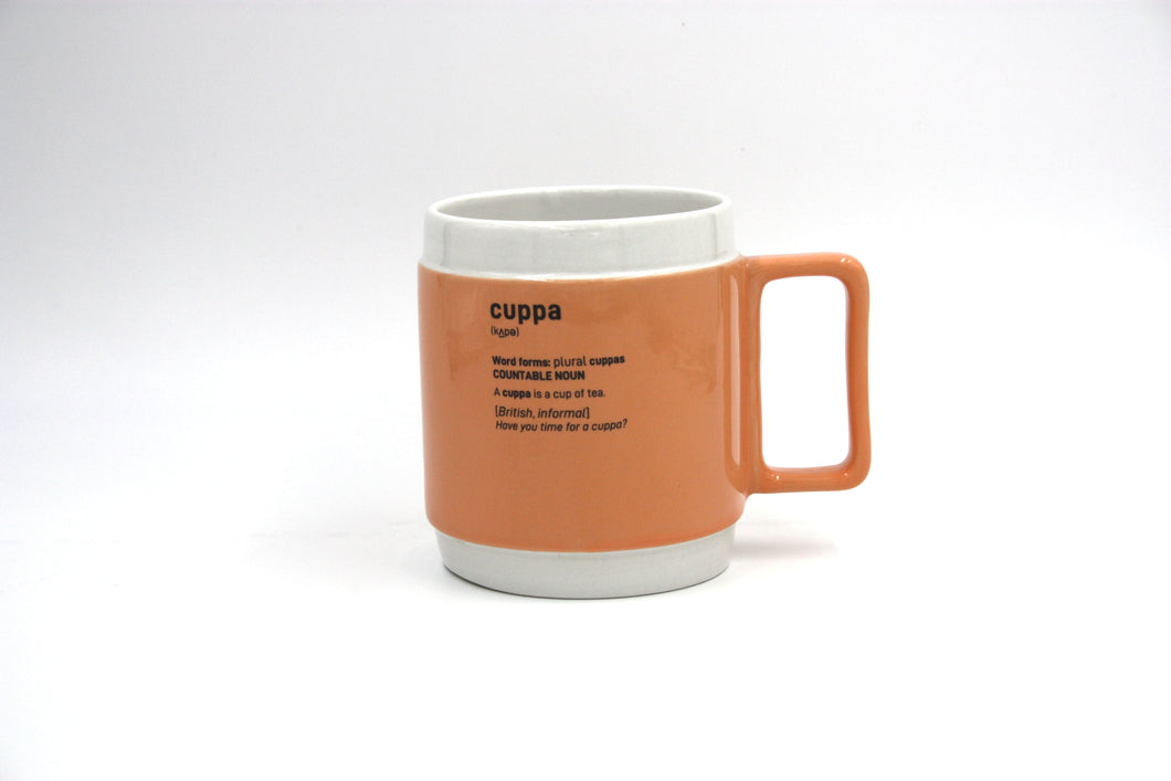 Terracotta orange cuppa mug centred on white background