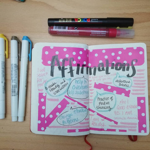Creative journal spread - affirmations. By Lucy Joy to help answer what is journaling