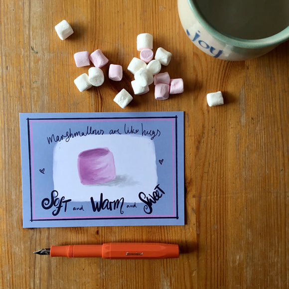 Marshmallow hugs postcards by Lucy Joy
