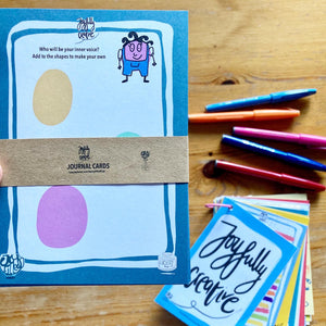 Joyfully creative journal cards by LucyJoy - learning to have a good inner voice prompts