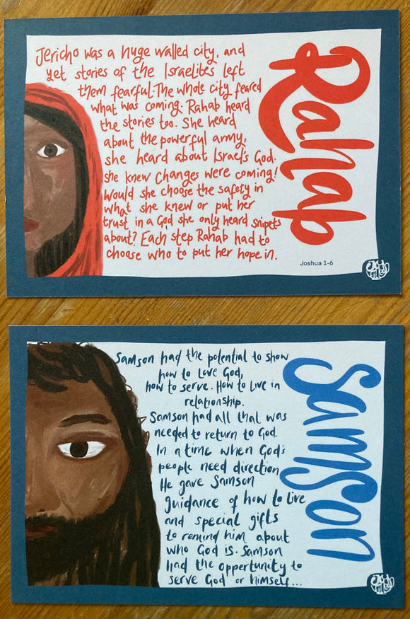Rahab and Samson summary cards - opportunity to serve kit by Lucy Joy at the joy filled cup