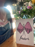 Freedom necklace and print gift set by onlywillow jewellery and lucyjoyartist