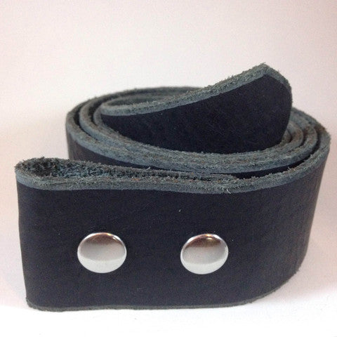 Black Leather Snap Belt