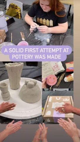 Air dry pottery creations from team event