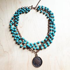 Blue Turquoise Collar-Length Necklace w/ Indian Head Coin