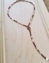 Natural Howlite and Cooper Beaded Necklace