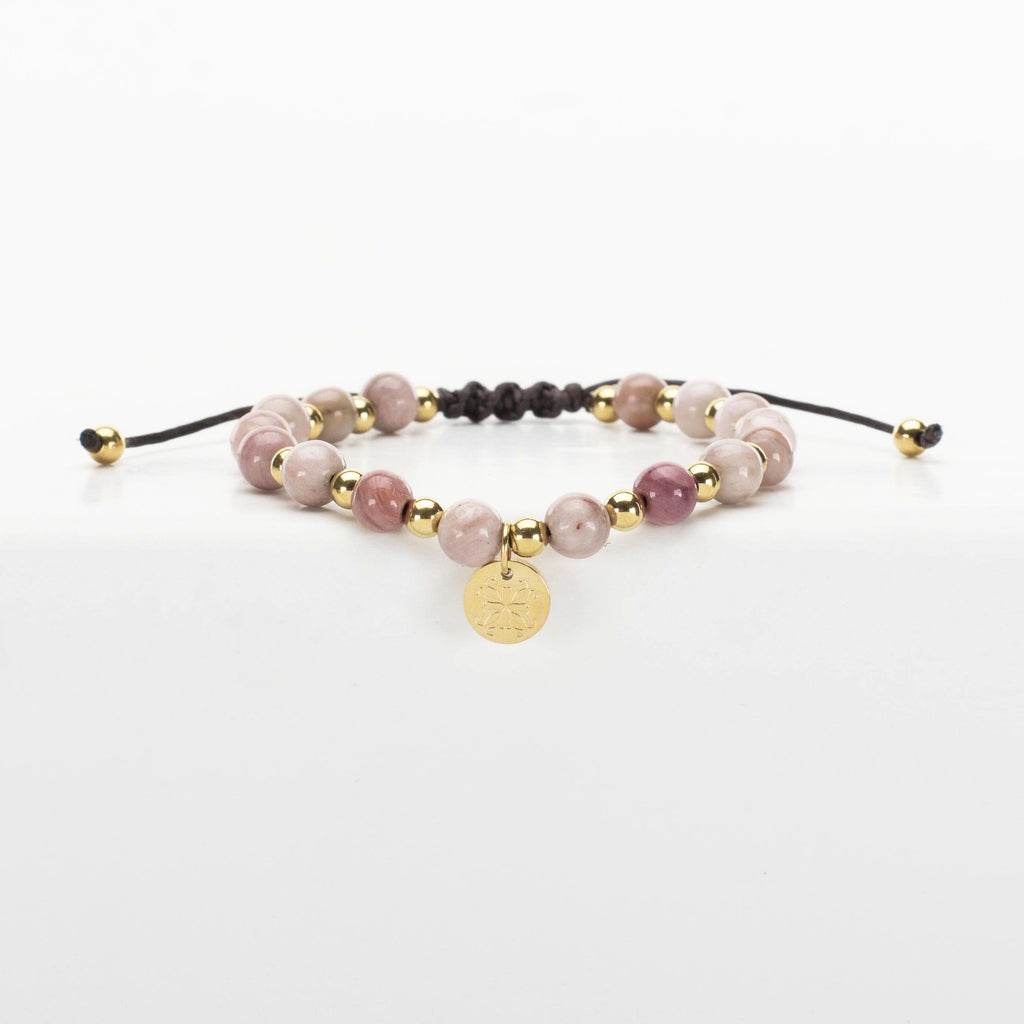 Belle Slider Rhodonite - Gold