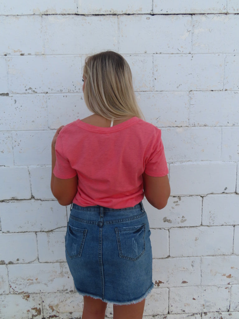 The Cotton Slub Pocket Tee - Sugar Coral