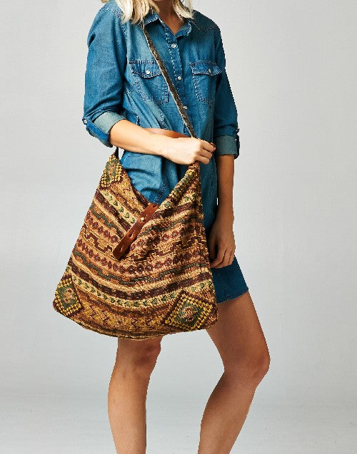 Savannah Woven Shoulder Bag Multi/Tan