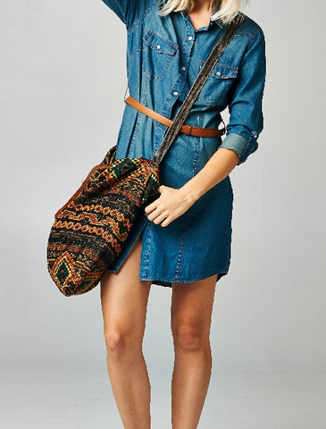 Savannah Woven Shoulder Bag Multi/Blue