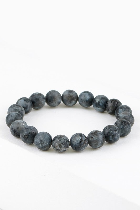 Natural Stone Beaded Bracelet - Dark Grey