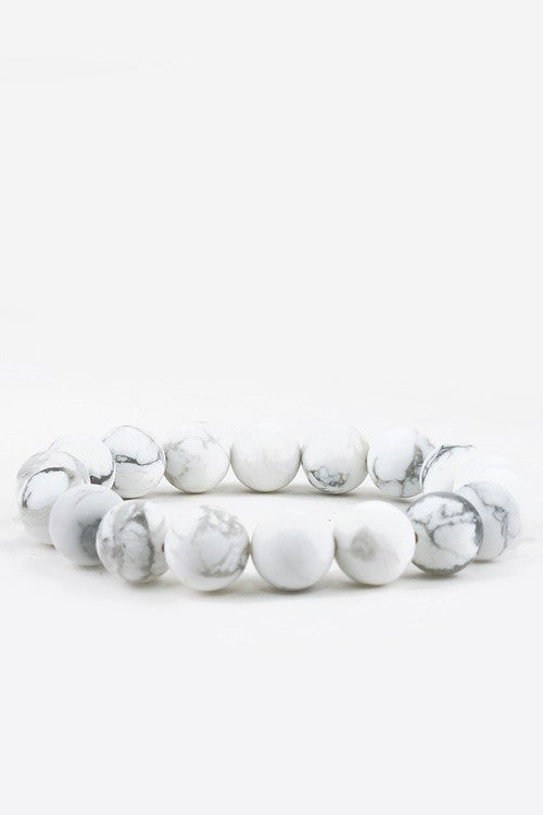 Natural Stone Beaded Bracelet - Howlite White