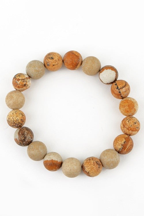 Natural Stone Beaded Bracelet - Picture Jasper