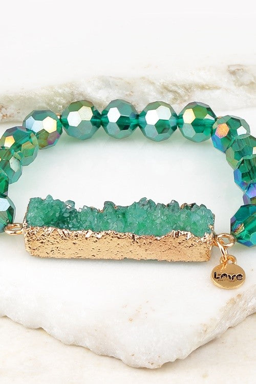 Crystal Stretch Bracelet - Green