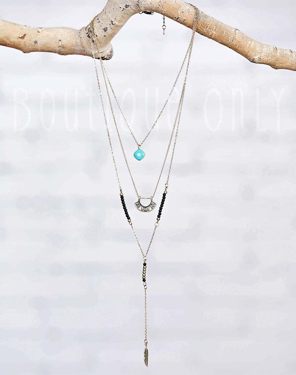 Triple chain Turquoise and feather charm necklace