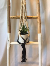 Natural Cotton/Black Macrame Plant Hanger