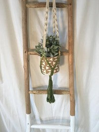 Cotton Rope/Green Macrame Plant Hanger