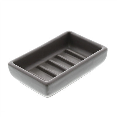 Luna Ceramic Soap Dish - Matte Grey