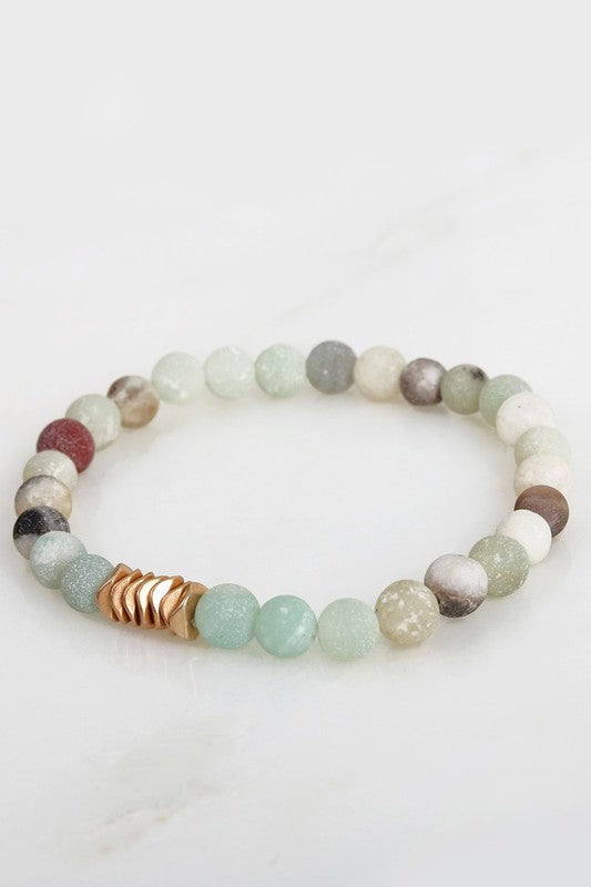 Natural Stone Beaded Stretch Bracelet