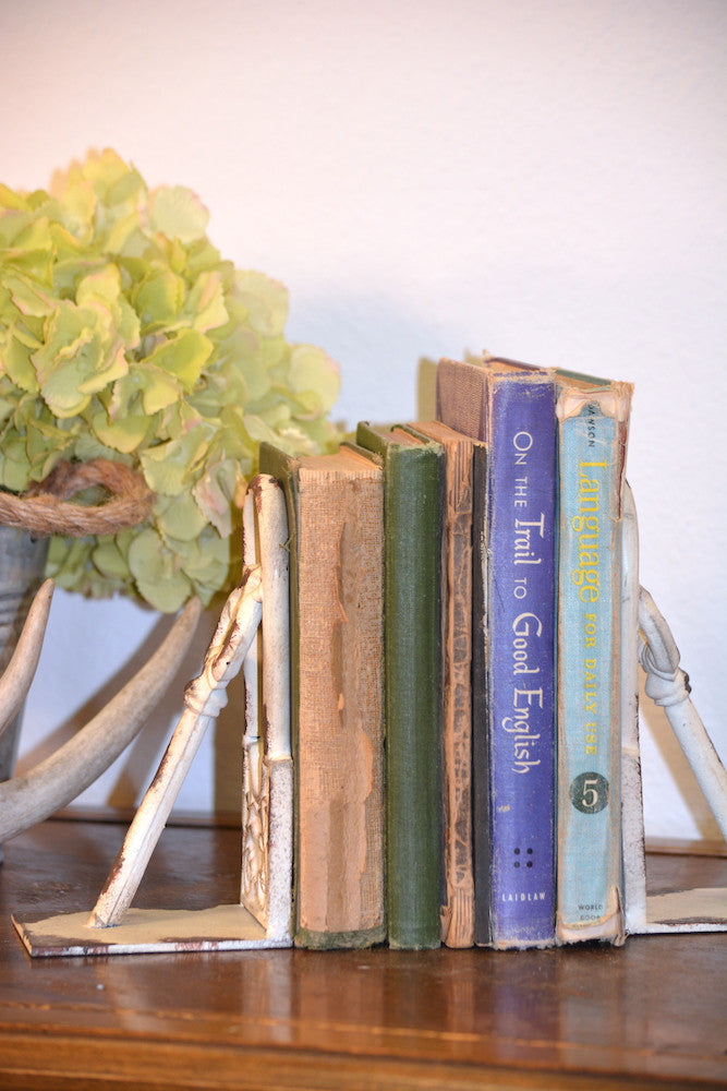 Distressed White Key Bookend Cast Iron