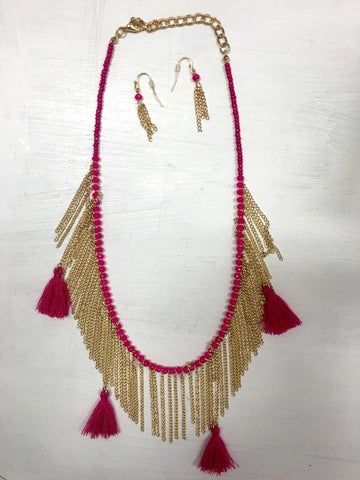 Pink and Gold Tassel Necklace Set