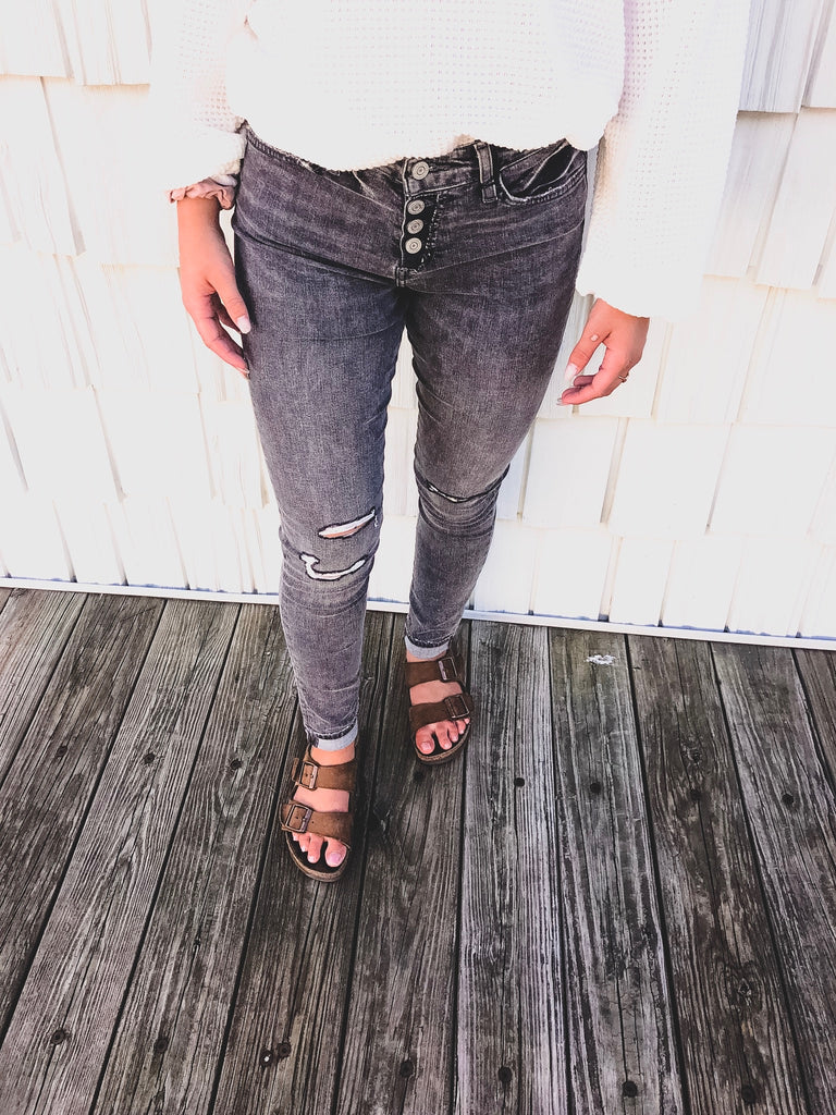 High Rise Distressed Cuffed Ankle Skinny