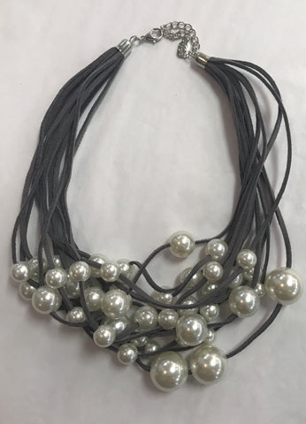 Leather Pearl Multi Strand Necklace