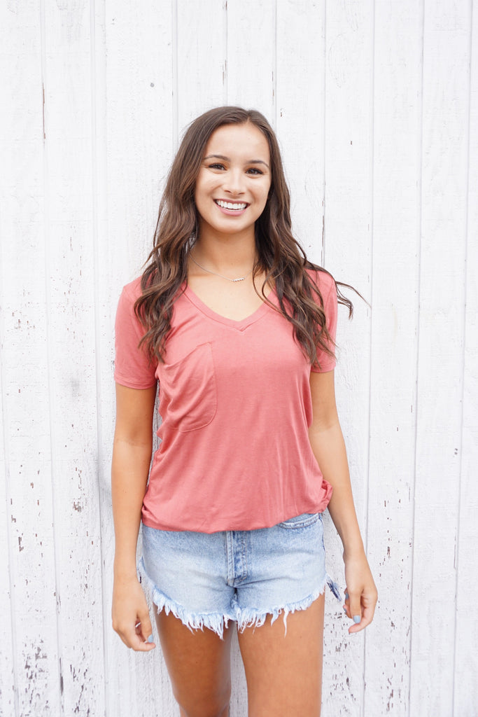 The Sleek Jersey Pocket Tee - Mineral Red