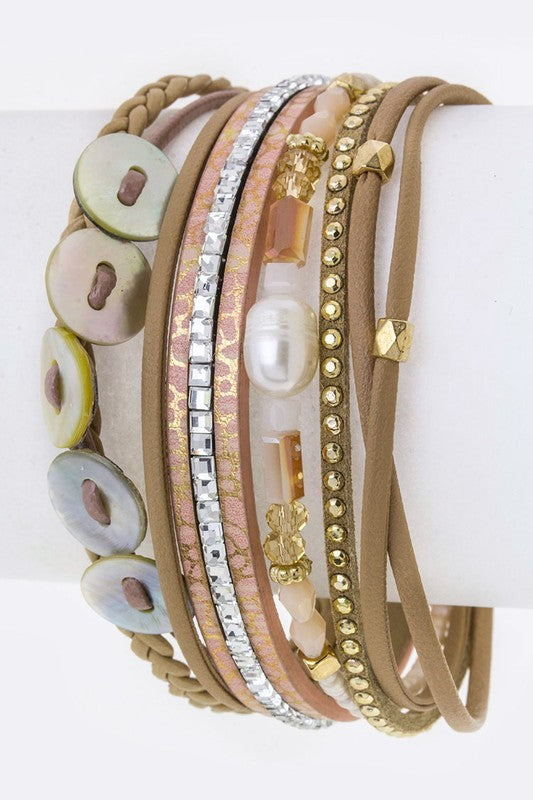 Shell Disks & Mix Charms Layer Cuff - Topaz