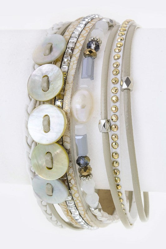 Shell Disks & Charms Layer Cuff - White