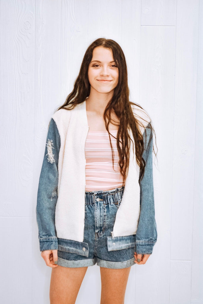 Two To Tango Denim Sherpa Bomber Jacket