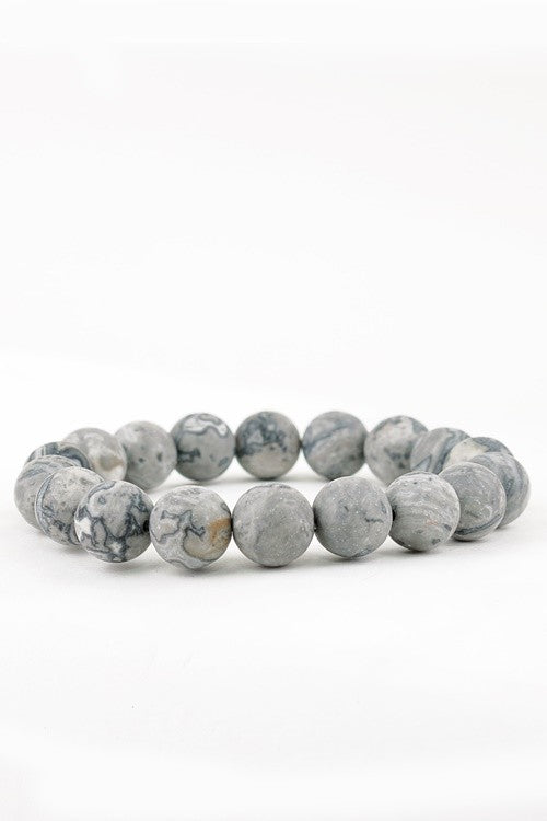 Natural Stone Beaded Bracelet - Crazy Jasper