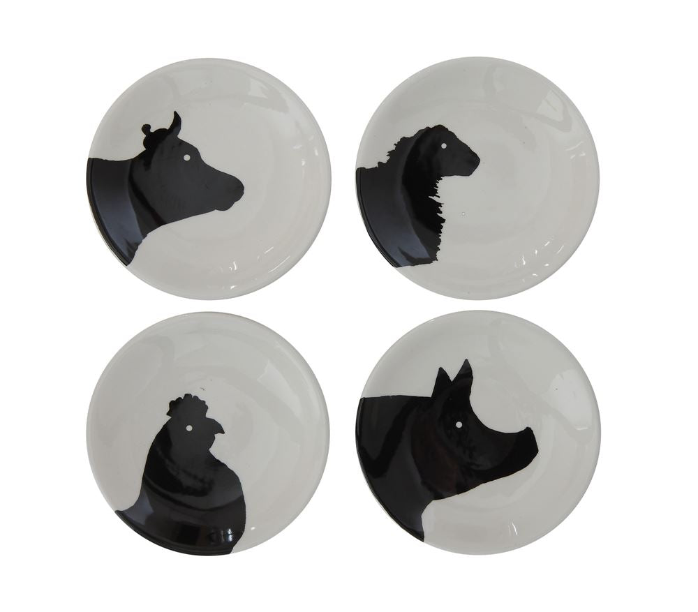 "4"" Round Ceramic Dish w Farm Animals, 4 Styles"