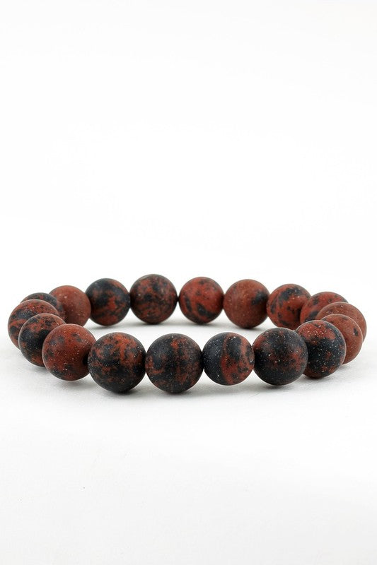 Natural Stone Beaded Bracelet - Mahogany