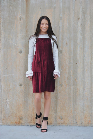 My Crush Overall  Dress - burgundy