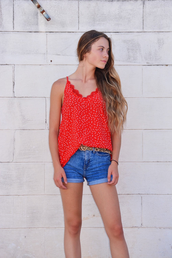 The Quinn Dotted Top - Red/White
