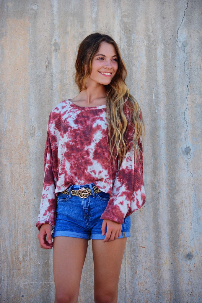 Daly Tie-Dyed Top Crimson