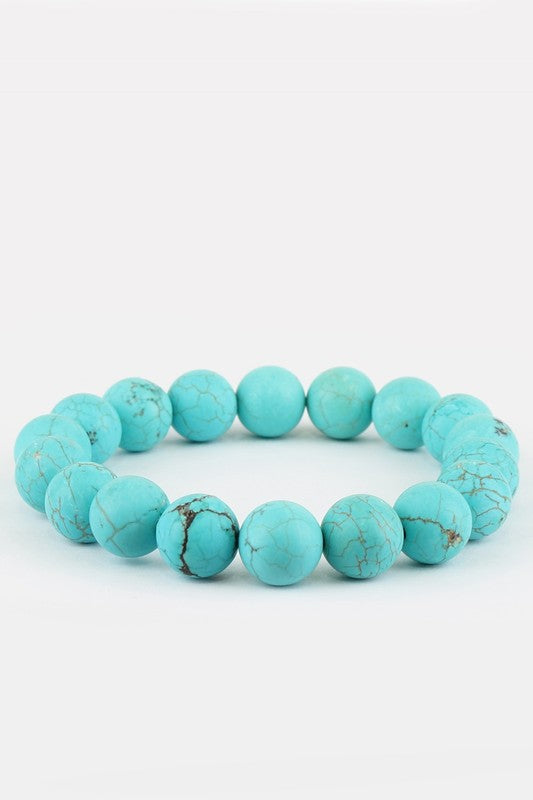 Natural Stone Beaded Bracelet - Turquoise