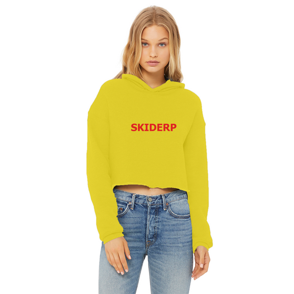 SKIDERP Ladies Cropped Raw Edge Hoodie