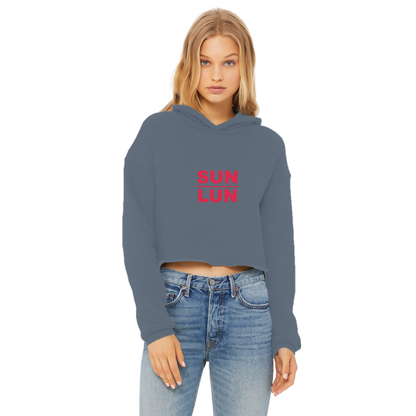 Sun Lun Ladies Cropped Raw Edge Hoodie