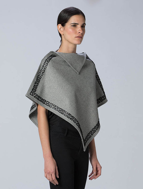Cristobal Poncho With Leather Fretwork